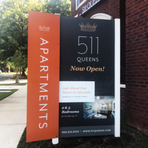 We produced and installed the 511 Queen sign which incorporated a side blade. The complex is My Niche Apartments in Charlotte, NC.