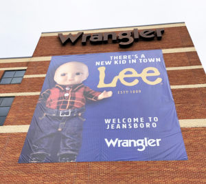 We used an 80' lift to install a 30'x35' banner as well as an 15'x18'  banner at the Wrangler HQ store in Greensboro, NC.
